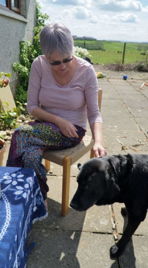 coffee morning fundraiser with Lynne and her dog
