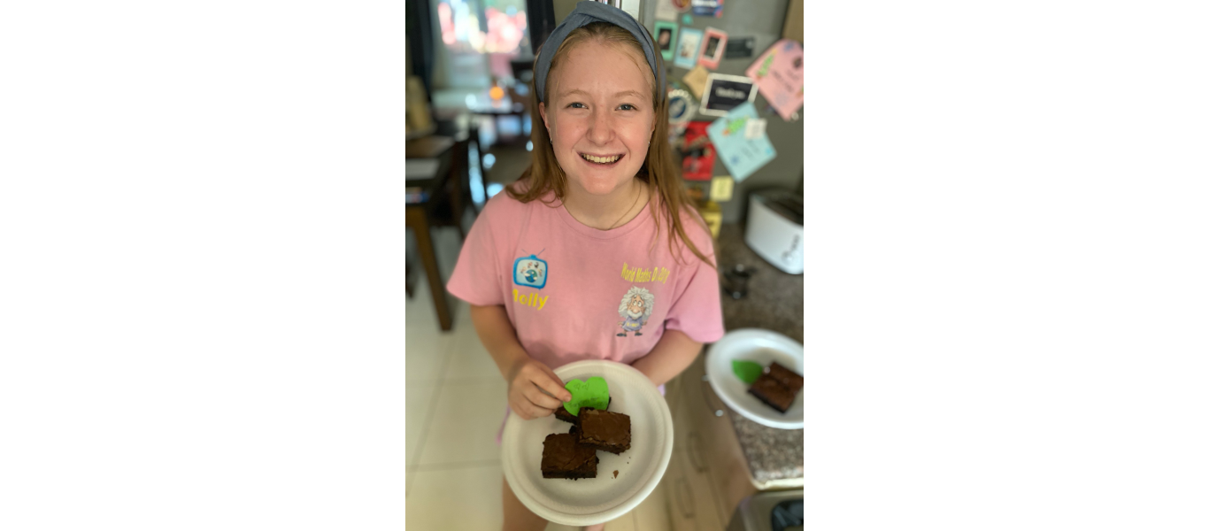 molly richards baking brownies for dogstar foundation
